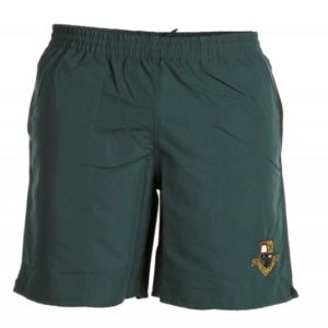 Green shorts with school badge. Available at clothing shop only